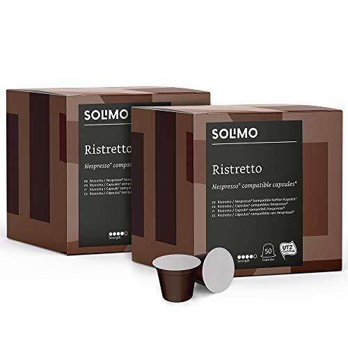 Lot de 2 paquets de 50 Capsules Solimo Ristretto compatibles Nespresso (Via économisez en vous abonnant)