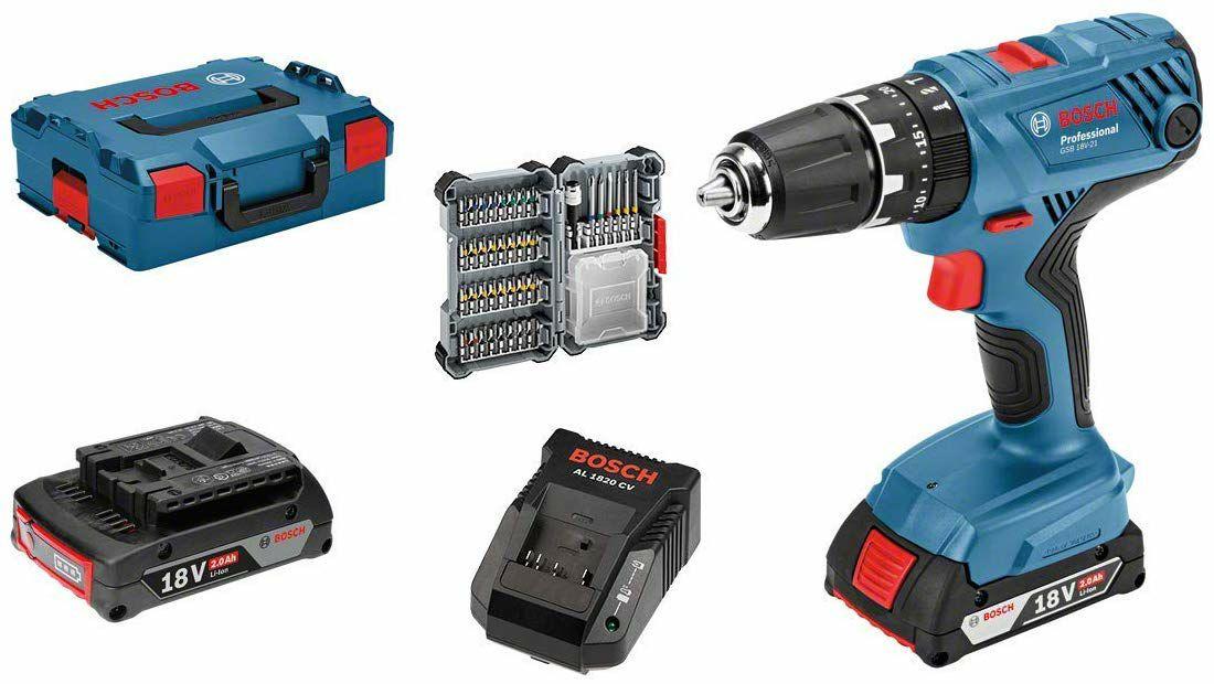Perceuse-visseuse à percussion sans-fil Bosch Professional GSB 18 V-21 - 2 batteries 2,0 Ah, 18 V + set d'accessoires 40 pièces + L-BOXX