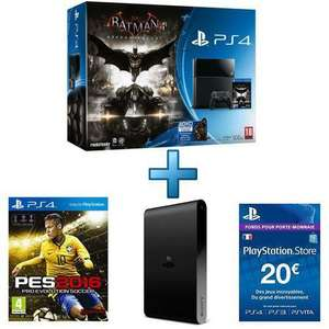 Pack Console Sony PlayStation PS4 + PES 2016 + Batman Arkham Knight + PS TV + Livecard PSN 20€