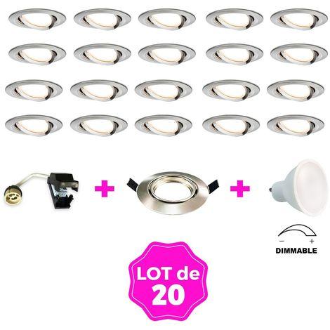 Lot de 20 Spots encastrable LED en alu brossé dimmables - GU10 7W, 2800K (Vendeur Tiers)