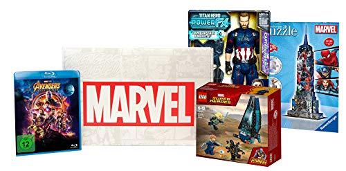 Box Marvel Avengers : Lego 76101 + Figurine Captain America + Blu-ray Avengers Infinity War + Puzzle 3D Ravensburger 12517