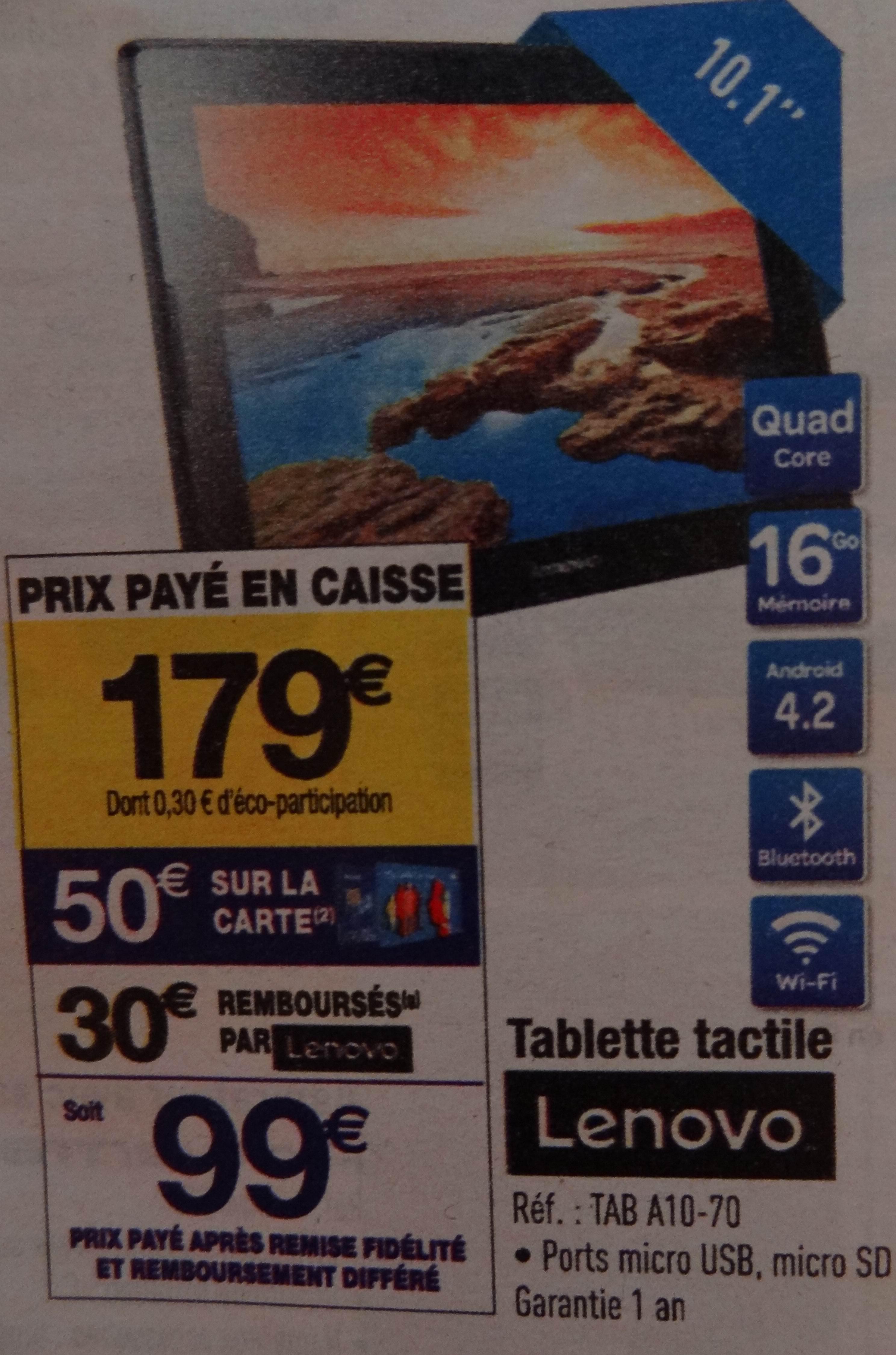 """Tablette 10.1"""" Lenovo Tab A10-70 - 16 Go (Via ODR 30€ et 50€ sur la carte) en ligne et en magasin"""