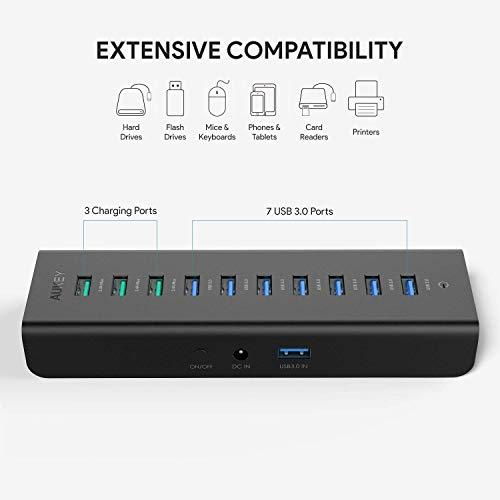 Hub Aukey 7 ports USB 3.0 + 3 ports de chargement 2.4 A (Vendeur tiers)