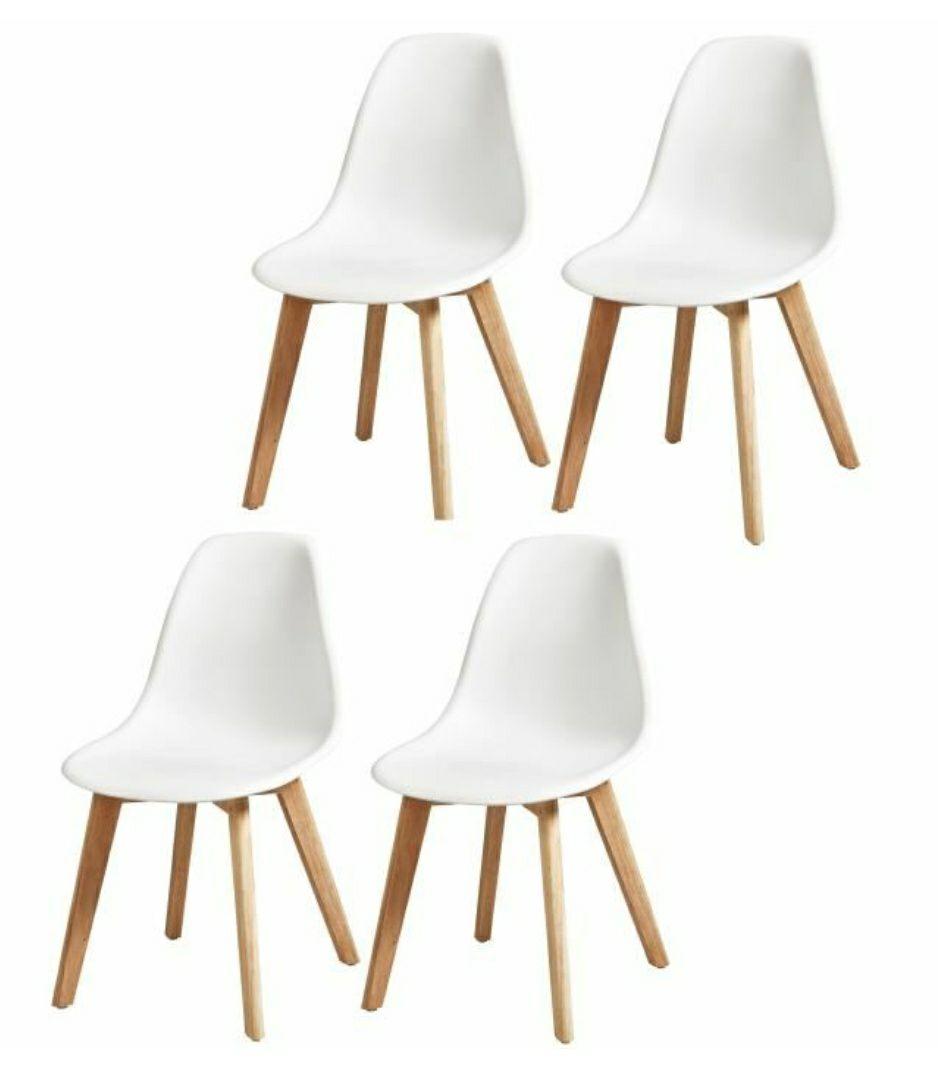 [CDAV] Lot de 4 chaises scandinaves Sacha - blanche, piètement bois