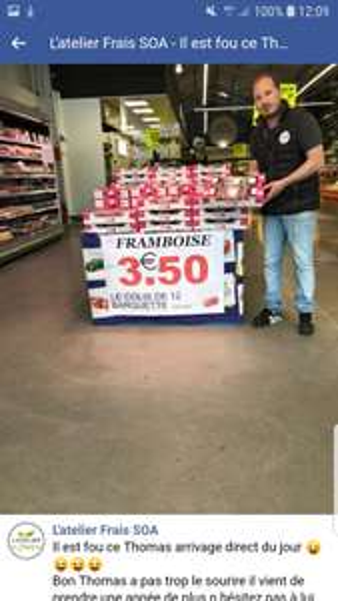 Sélection de fruits en promotion - Ex : colis de 12 barquettes de Framboises - L'atelier Frais SOA Saint-Ouen-l'Aumône (95)