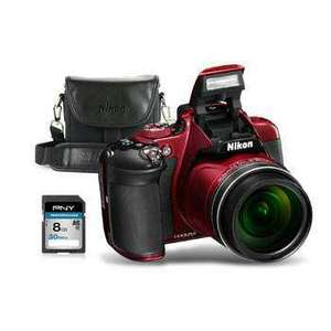 Appareil photo Bridge Nikon P610 + Housse Nikon + Carte SD PNY 8 Go (via ODR de 30€) - Noir ou Rouge