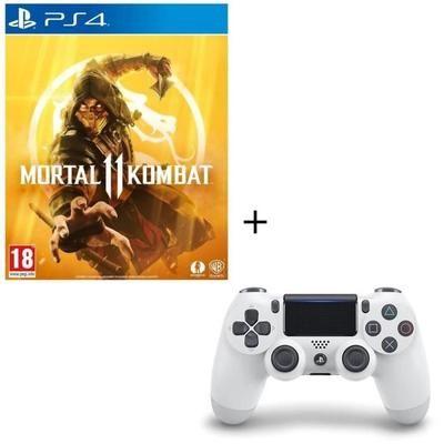 Jeu Mortal Kombat 11 + Manette PS4 DualShock 4 Glacier White