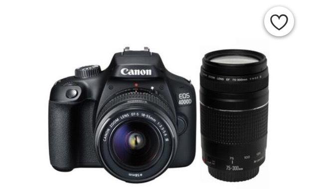 [CDAV] Appareil Photo Reflex Canon EOS 4000D 18 Mpx + Objectifs (EF-S 18-55 III + EF 75-300 F/4-5,6 III)