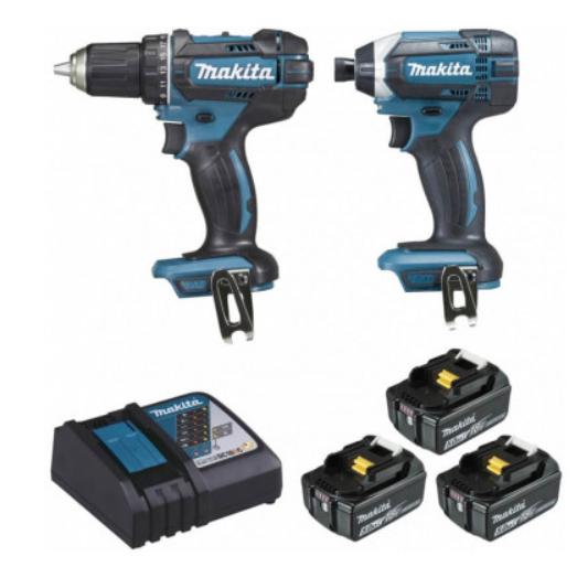 Pack Makita DLX2127TJ1 - Perceuse Visseuse 18V DDF482 + Visseuse à Chocs DTD152 18V (3X5AH) + Coffret Makpac  + Chargeur + 3 Batteries