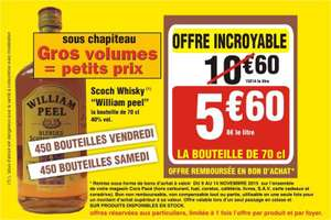 Scotch Whisky Whilliam Peel 70cl (5€ sur la carte Cora)