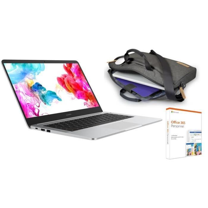 PC Portable 14' Huawei Matebook D - Ryzen 5 2500U, 8 Go RAM, 256 Go SSD, RX Vega 8, Windows 10 + Office 365 + Sacoche