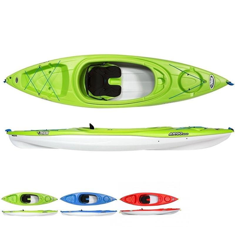 Kayak rigide Pelican Argo 100X + Pagaie + Gilet + Sac étanche + Leash