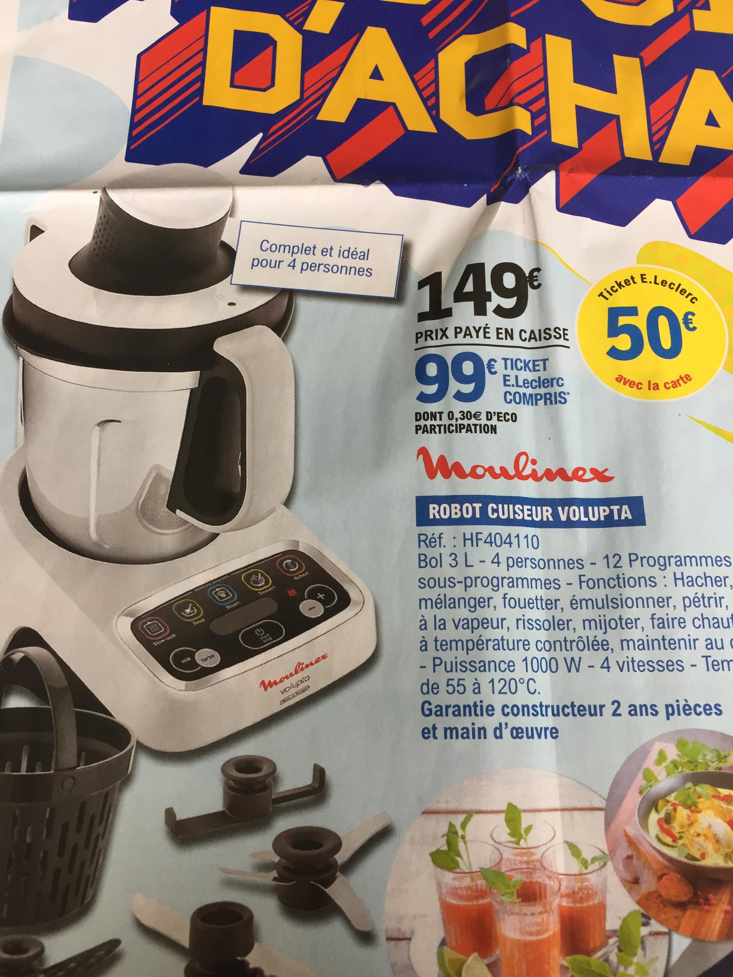 Robot cuiseur Moulinex Volupta HF404110 (Via 50€ sur la carte fidélité)