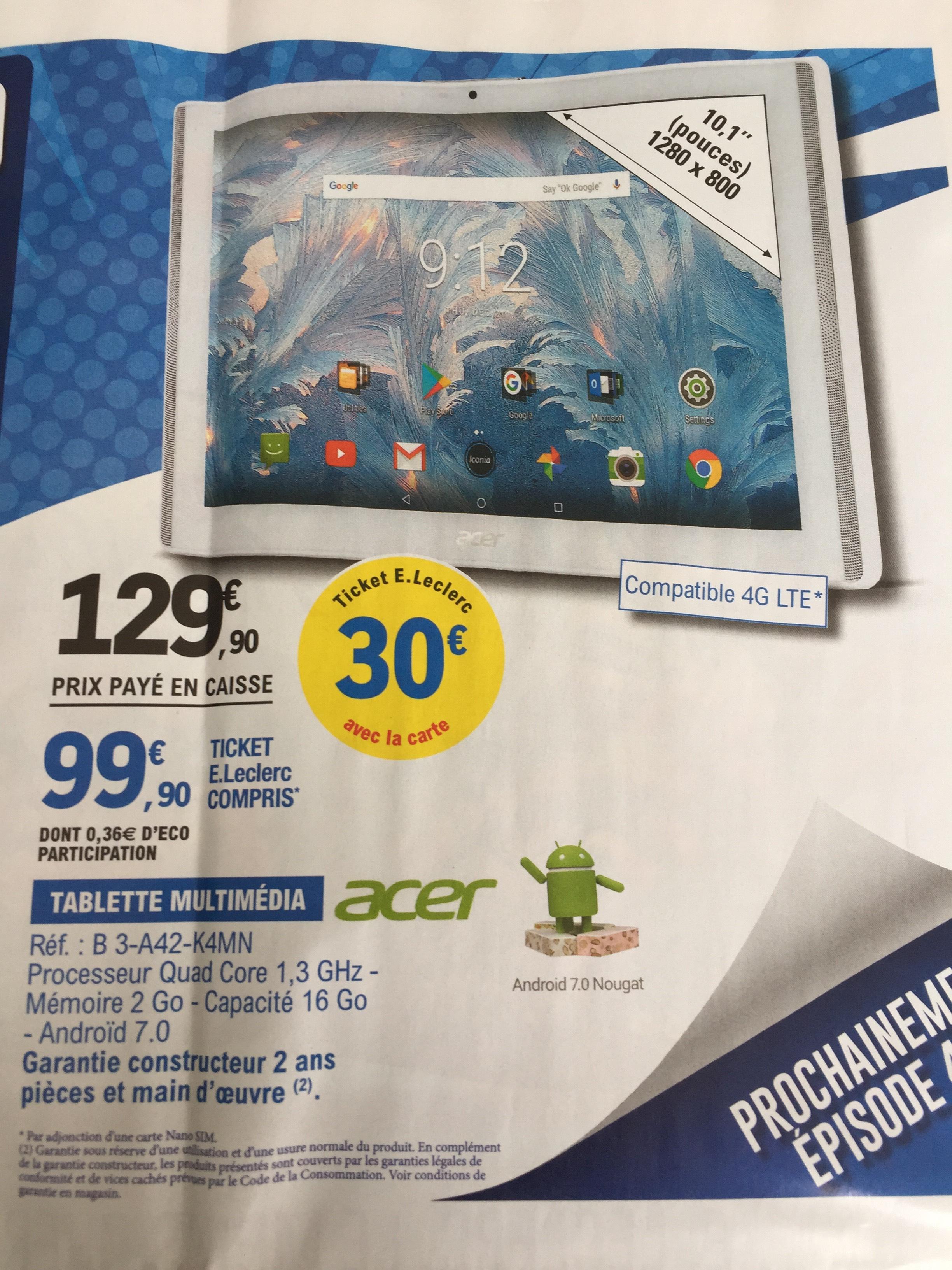 "Tablette 10.1"" Acer (B 3-A42-K4MN) - 1200 x 800, 2 Go de RAM, 16 Go de ROM, Adroid 7"