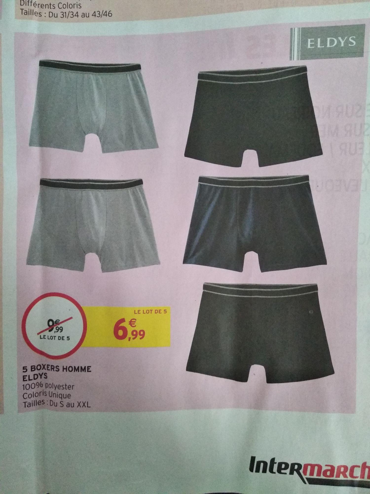Lot de 5 boxers Eldys - différents coloris (du S au XXL)