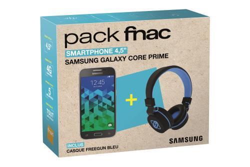 """Smartphone 4,5"""" Samsung Galaxy Core Prime 8 Go Gris + Casque Freegun Bleu (via ODR 30€)"""