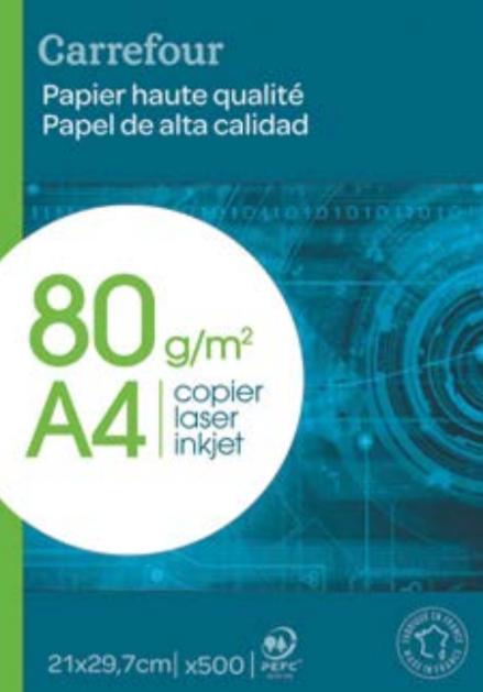 Ramette de 500 Feuilles Blanches Carrefour - Format A4 (Via 3.16€ en Bon d'achat)