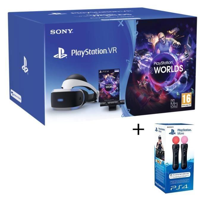 [Cdiscount à volonté] Pack PlayStation VR V2 + Caméra + VR Worlds (Voucher) + Paire de PlayStation Move