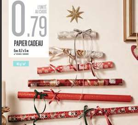 Papier cadeau 0,7 x 5 m (80 g/m²) au choix