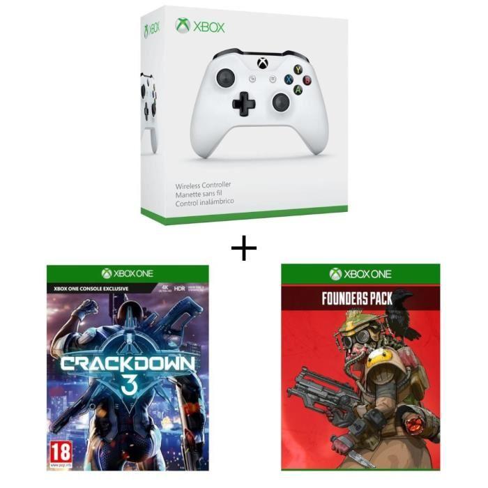 Manette sans fil Xbox One Blanche compatible PC + CrackDown 3 sur Xbox One + Apex Legends Founder's Pack