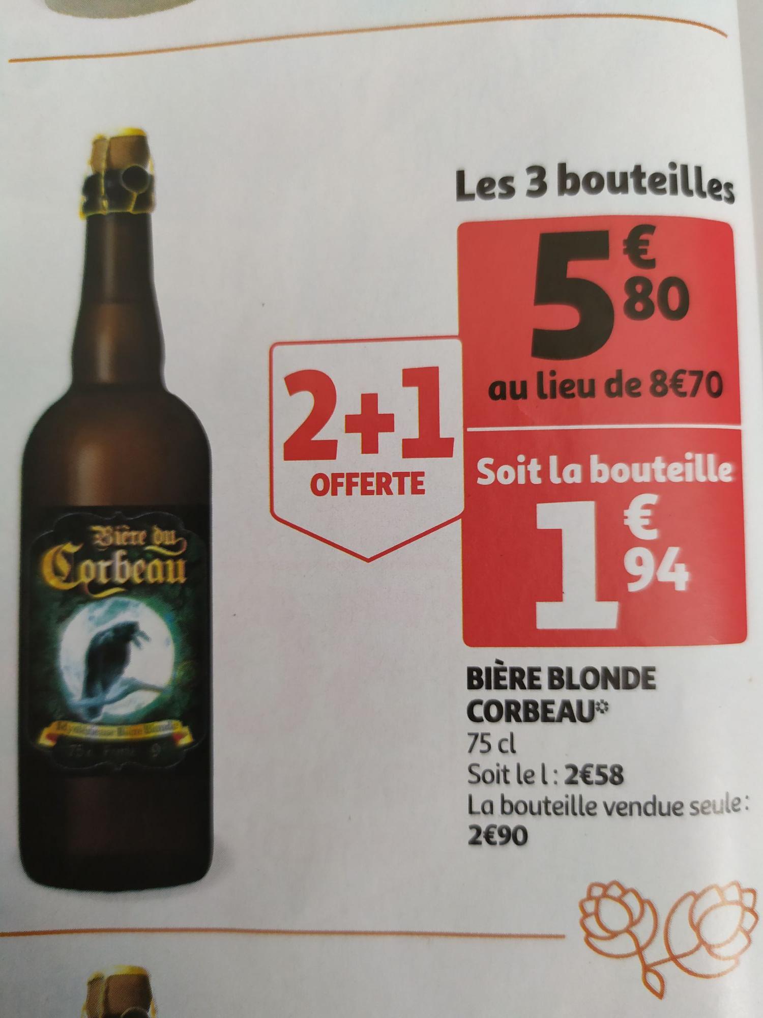 Sélection de bière en promo 2+1 gratuite - Ex  :Lot de 3 bières du Corbeau - 75cl