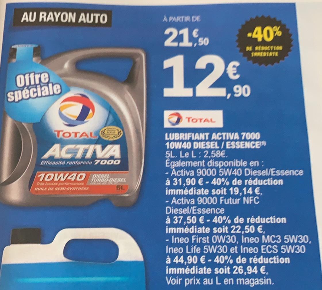 Huile moteur Total (Diverses variétés) - Ex : Total Activia 7000 10W40 Diesel
