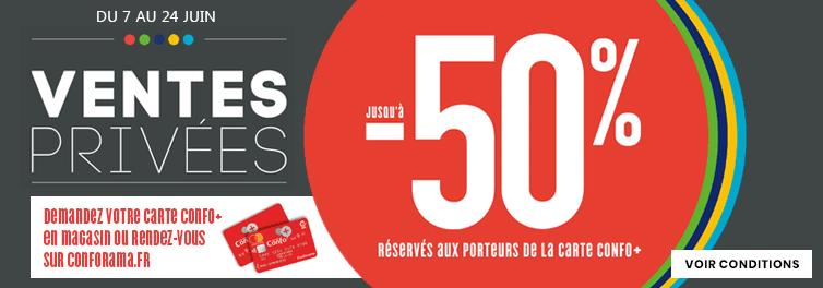 [Carte Confo+] Jusqu'à 50% de réduction sur une sélection d'articles en ventes privées