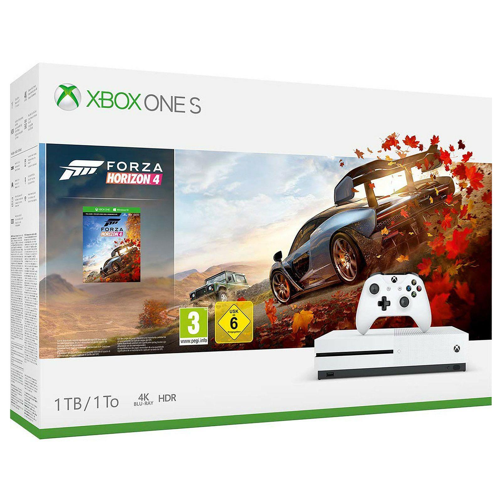 Pack Console Microsoft Xbox One S (1 To) + Forza Horizon 4 (via 149.50€ sur le compte fidélité)