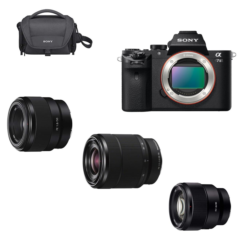 Hybride Sony Alpha A7 II + 3 Objectifs (28-70mm f/3.5-5.6 + 50mm f/1.8 + 85mm f/1.8) + Sac + Carte SD (+ 170€ sur la carte) - Via ODR 200€