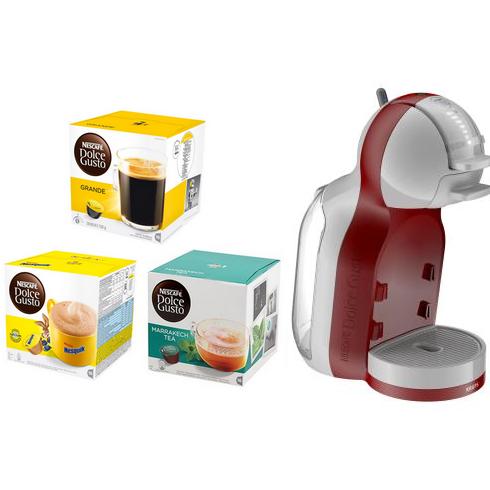 Machine à Capsules Krups Mini Me - Rouge + 12 Paquets de Capsules de Boissons Chaudes Nescafé Dolce Gusto au choix