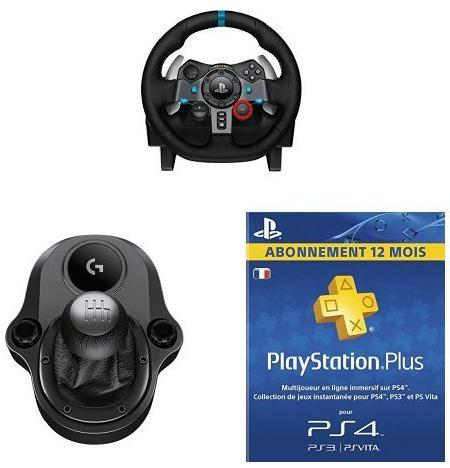 Volant Logitech G29 avec levier de vitesse Logitech Driving Force Shifter + Abonnement 12 mois PlayStation Plus