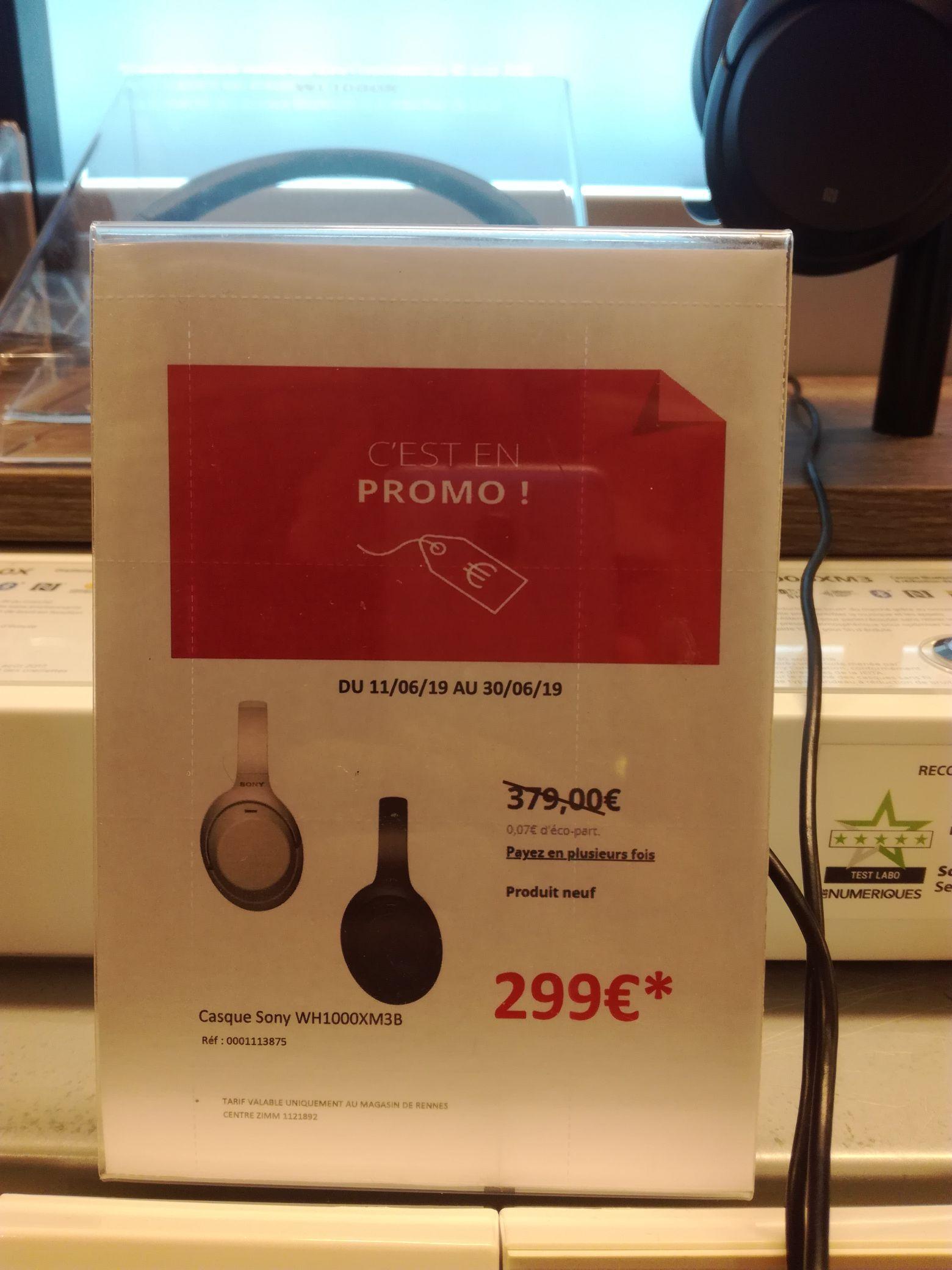 Casque audio sans-fil Sony WH-1000XM3 (Bluetooth, argent ou noir) - Rennes Centre (35) / Caen Mondeville (14)