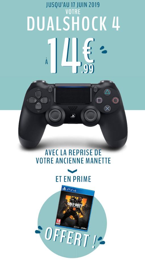 Manette Sony DualShock 4 (V2) + Call of Duty: Black Ops 4 sur PS4 - en échange d'une ancienne manette Sony DualShock 4