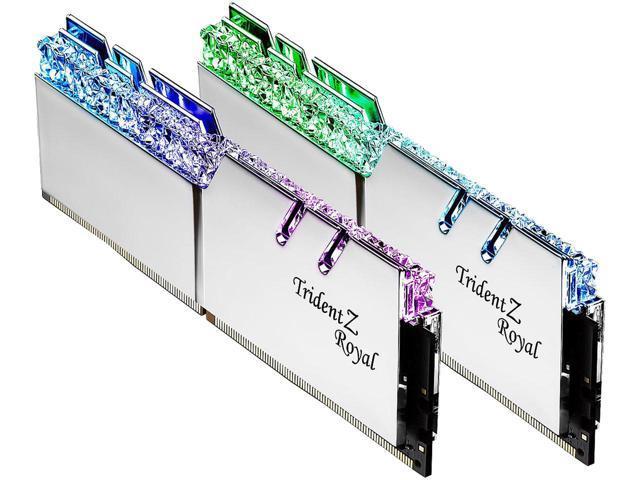 Kit mémoire Ram DDR4 G Skill Trident Royal Silver RGB 16 Go (2 x 8 Go) - 3200 Mhz, CL16