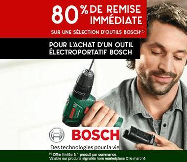 Un produit bosch acheté = 80% de réduction sur un second produit parmi une sélection Bosch