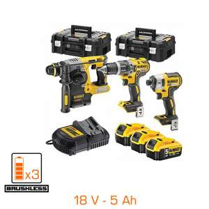 Pack 18V XR BRUSHLESS : 3 machines professionnelles - 3 bat Li-Ion 5Ah + chargeur + 2 coffrets TSTAK