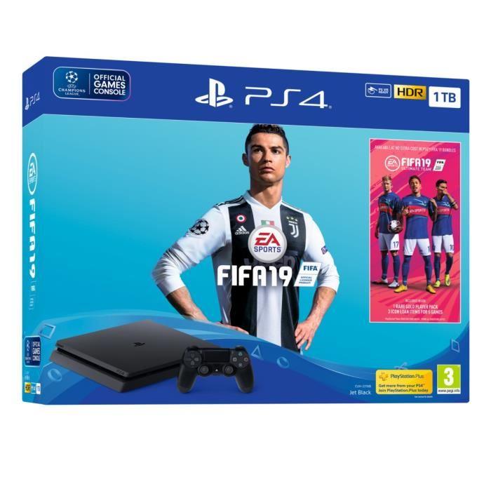 Console Sony PlayStation 4 1 To + FIFA 19 + 14 jours d'essai au PlayStation Plus - Noire