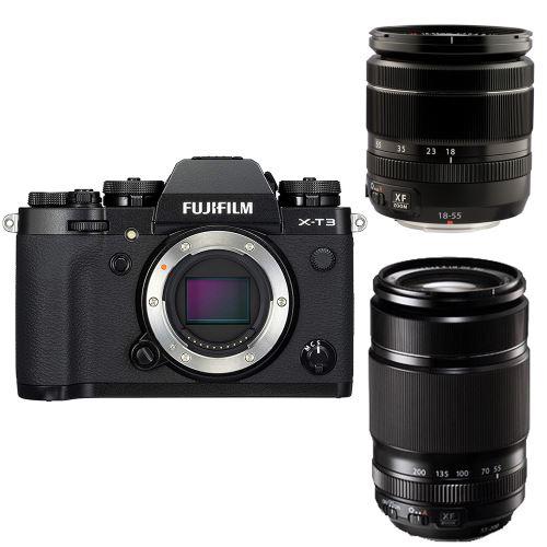Appareil photo Hybride Fujifilm X-T3+Objectif XF 18-55mm f/2.8-4 R LM OIS+XF 55-200mm f/3.5-4.8 R LM OIS (ODR 200€)+240 euros sur carte fnac