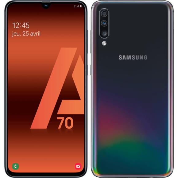 """Smartphone 6.7"""" Samsung Galaxy A70 (Noir) - Full HD+, Snapdragon 675, RAM 6 Go, ROM 128 Go (+ 14.90€ en SuperPoints)"""
