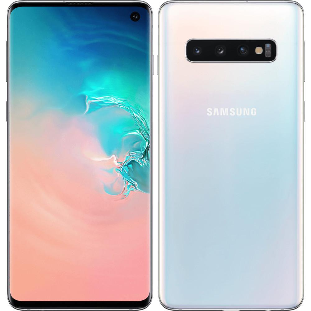 """Smartphone 6.1"""" Samsung Galaxy S10 (Blanc prisme) - Quad HD+, Exynos 9820, RAM 8 Go, ROM 128 Go (+ 28.74€ en SuperPoints)"""