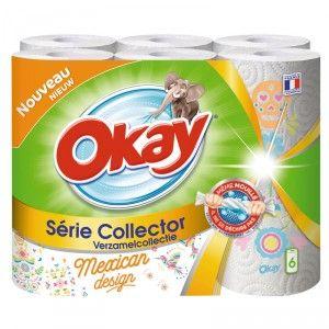 Lot de 6 rouleaux d'Essuie-tout Okay Colelctor décors (via 1.74€ fidélité)