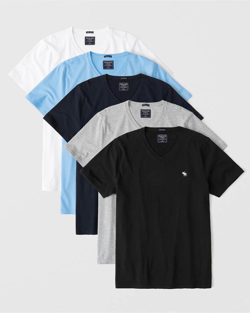 Lot de 5 T-shirts à col en V Abercrombie & Ditch