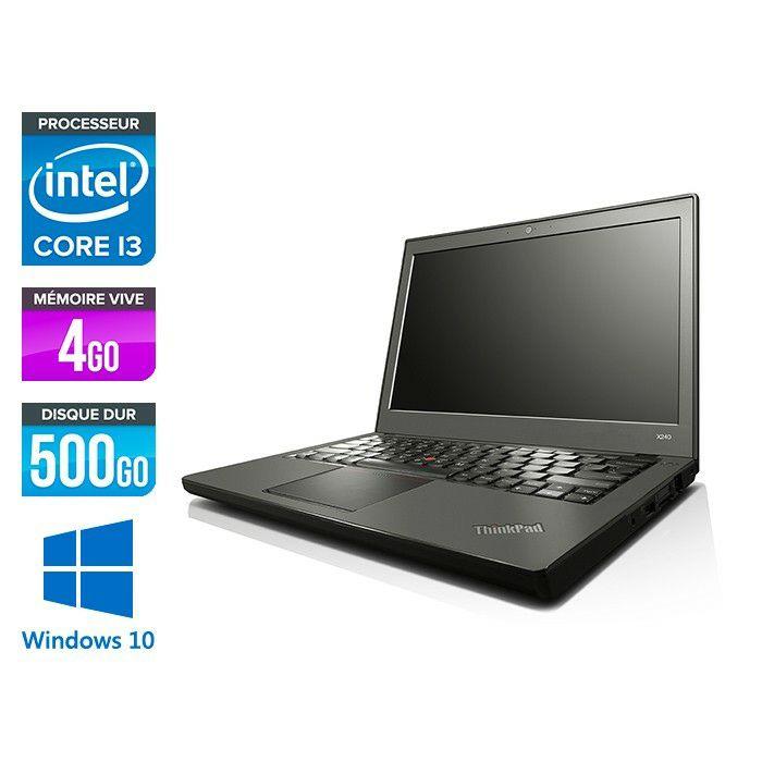 """PC Portable 12.5"""" Lenovo ThinPad X240 - HD, Intel i3-4030U, 4 Go RAM DDR3, HDD 500Go, Window 10 (Reconditionné)"""