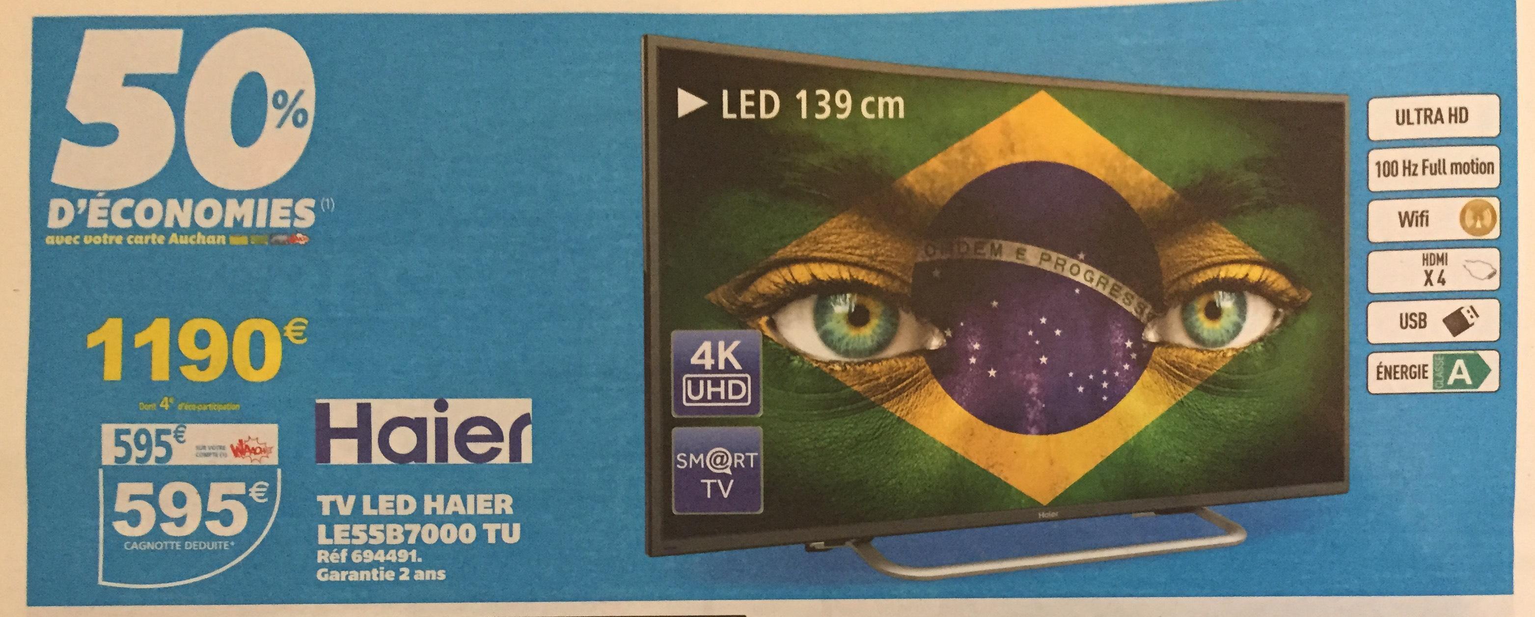"""TV LED 55"""" Haier LE55B7000 TU - 4K, Wifi, HDMI x4, USB, Classe A (avec 595€ sur la carte)"""