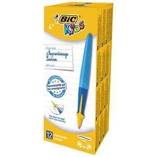 Boîte de 12 Stylos-bille d'Apprentissage Ergonomiques BIC Kids Twist System - Bleu,