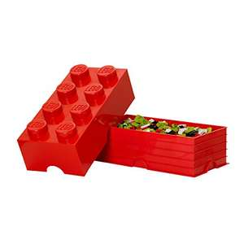 Boîte de Rangement Empilable Lego Brique (8 Plots) - 12L, rouge