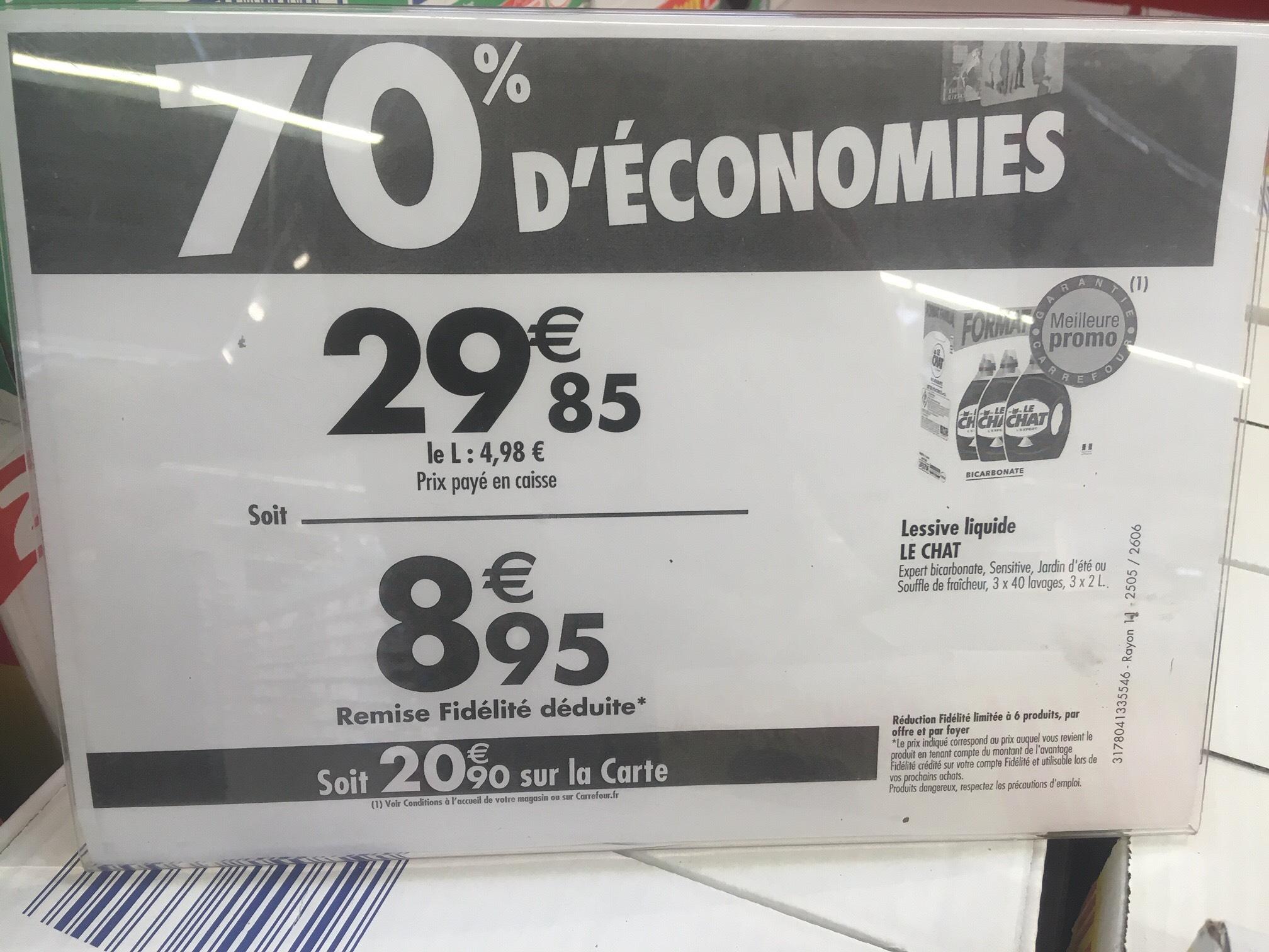 Lot de 3 bidons de lessive Le Chat - Parfum au choix (Via 20,90 € sur la carte fidélité) - La Beaujoire (44)