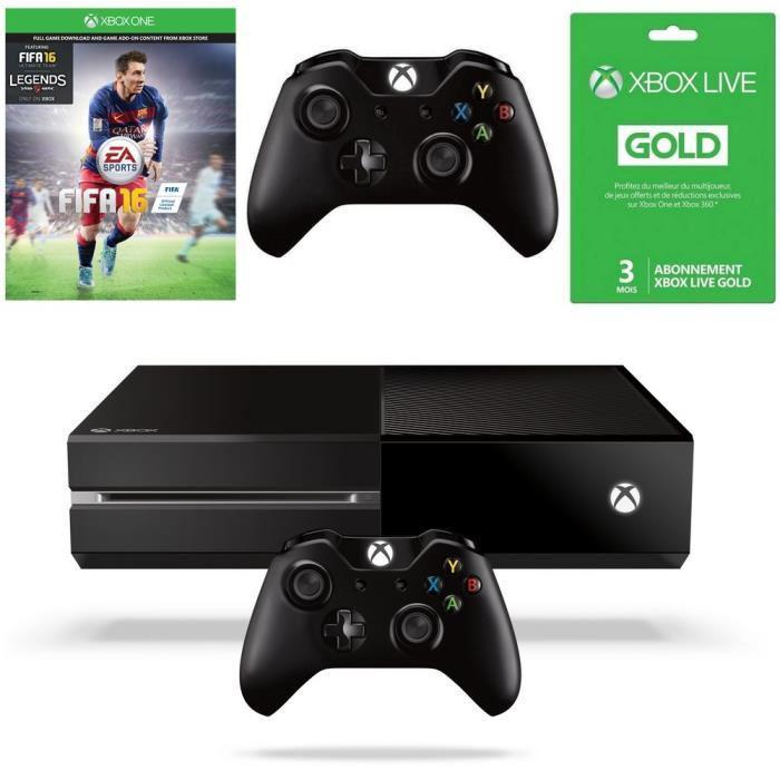 Console Xbox One 500 Go Noire + Fifa 16 + 2e manette + Abonnement Live Gold 3 mois