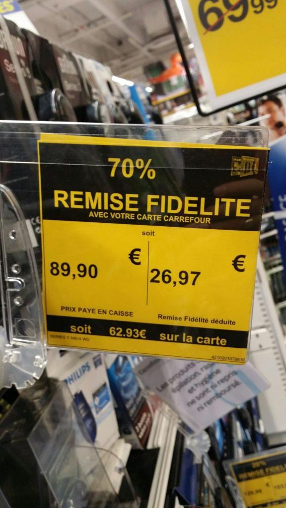 Rasoir électrique Braun série 3 345s (via 62.93€ sur la carte)