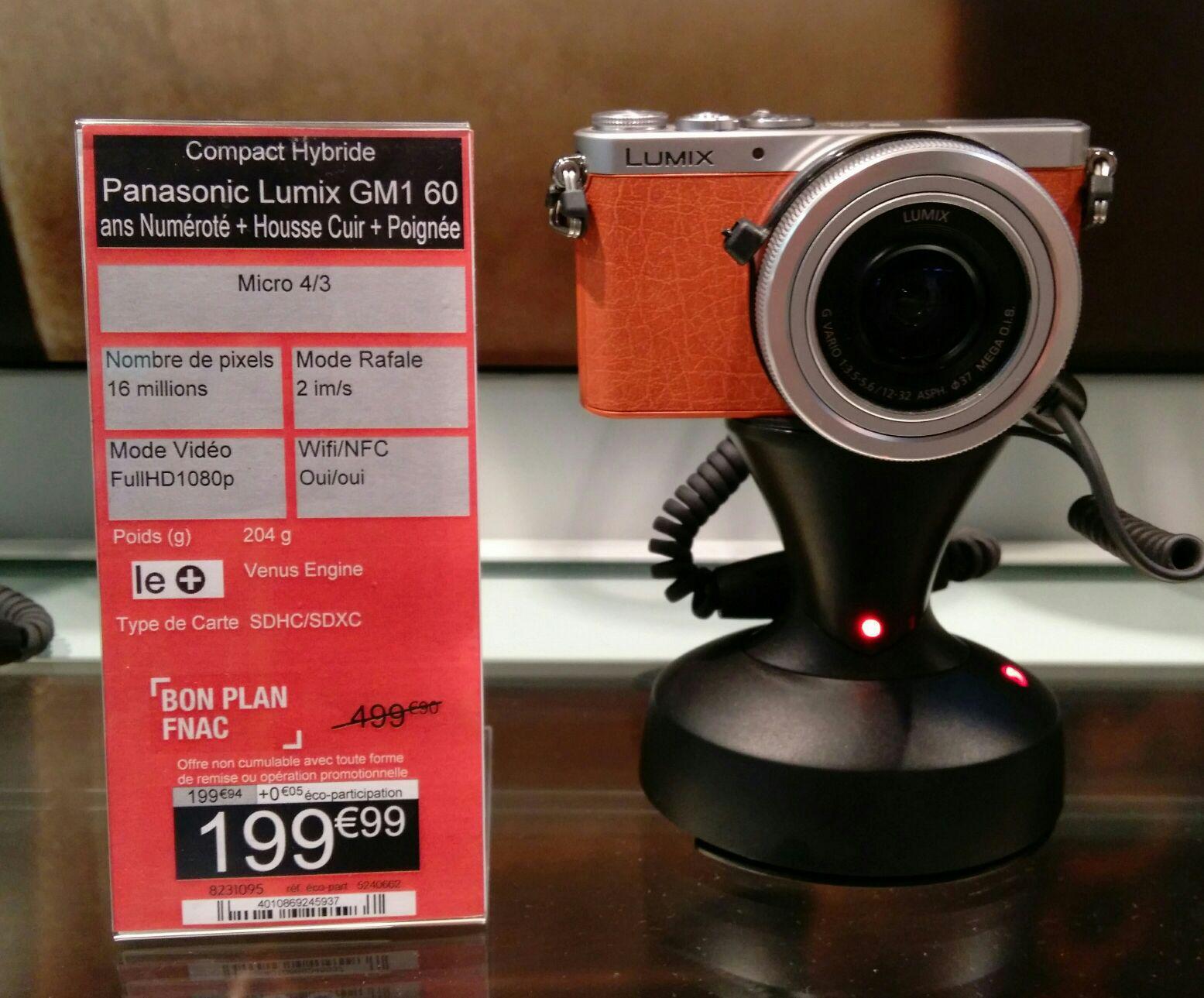Appareil photo compact Hybride Panasonic Lumix GM1 Marron + Objectif 12-32 mm + Housse cuir + Poignée